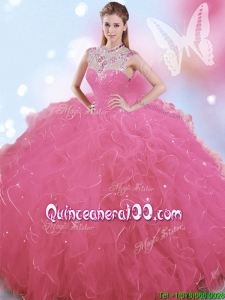 Cheap High Neck Big Puffy Quinceanera Dress with Beading and Ruffles