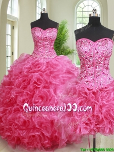 Cheap Really Puffy Hot Pink Removable Quinceanera Gown with Ruffles and Beading