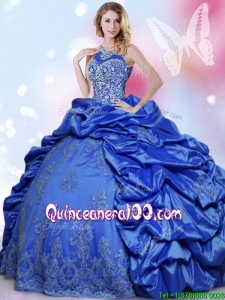 Classical Taffeta Royal Blue Sweet 16 Dress with Beading and Pick Ups