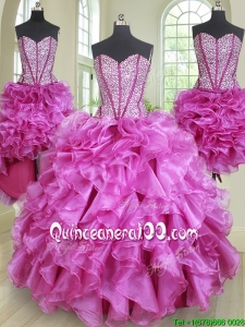 Classical Three Piece Visible Boning Ruffled and Beaded Bodice Quinceanera Dress in Fuchsia