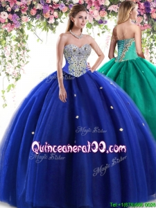 Discount Beaded Big Puffy Royal Blue Quinceanera Dress in Tulle