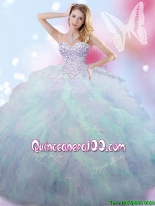 Discount Beaded and Ruffled Rainbow Quinceanera Dress in Tulle