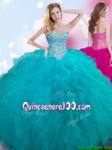 Discount Teal Big Puffy Quinceanera Dress with Beading and Ruffles