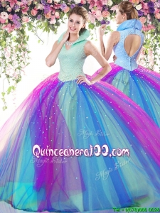Elegant High Neck Rainbow Tulle Quinceanera Dress with Beading