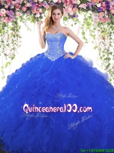 Elegant Royal Blue Sweet 16 Dress with Beading and Ruffles