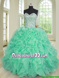Exclusive Beaded Bodice Turquoise Quinceanera Dress in Organza and Sequins