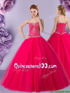 Exclusive Big Puffy Floor Length Tulle Quinceanera Gown with Beading