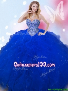 Latest Beaded and Ruffled Big Puffy Quinceanera Dress in Royal Blue