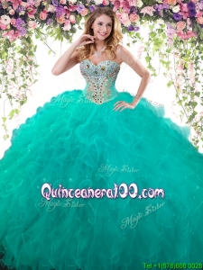 Lovely Ruffled and Beaded Big Puffy Quinceanera Dress in Turquoise