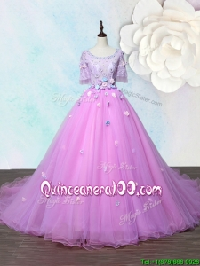 Lovely Scoop Applique Lilac Quinceanera Gown with Court Train