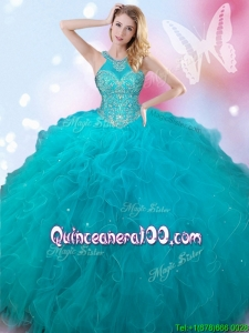Luxurious Halter Top Teal Quinceanera Dress with Beading and Ruffles