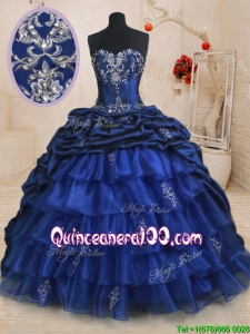 Luxurious Ruffled Layers and Bubble Brush Train Quinceanera Dress in Organza and Taffeta
