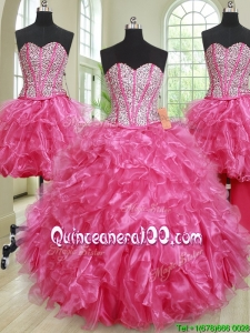 Luxurious Visible Boning Hot Pink Removable Sweet 16 Gown with Ruffles and Beading