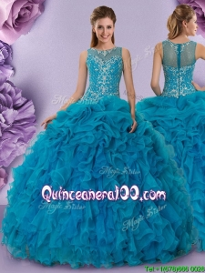 Modern See Through Back Zipper Up Quinceanera Dress with Ruffles and Beading
