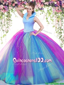 Modest High Neck Rainbow Backless Quinceanera Dress with Beading