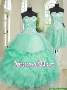 Most Popular Ruffled and Beaded Turquoise Detachable Quinceanera Dress in Organza