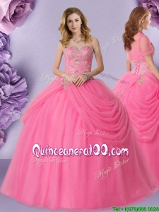New Style Beaded and Bubble Sweetheart Quinceanera Dress in Rose Pink