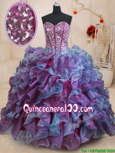 New Visible Boning Sequined Decorated Bodice Quinceanera Dress in Purple and Blue