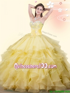 Popular Beaded and Ruffled Big Puffy Quinceanera Dress in Yellow