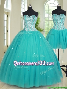 Popular Big Puffy Visible Boning Tulle Removable Quinceanera Dress with Beading