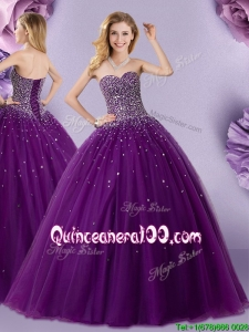 Pretty Puffy Skirt Dark Purple Quinceanera Dress with Beaded Bodice