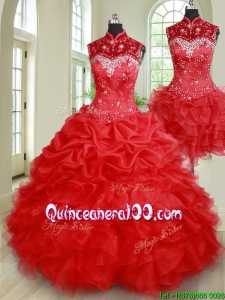 Pretty Ruffled and Bubble Beaded High Neck Removable Quinceanera Dress in Red