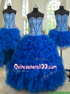 Romantic Three Piece Ruffled and Beaded Bodice Quinceanera Dress in Royal Blue