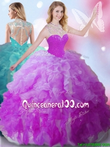 See Through High Neck Quinceanera Dress with Beading and Ruffles