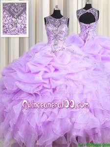 Unique See Through Scoop Beaded Ruffle and Bubble Organza Lavender Quinceanera Dress