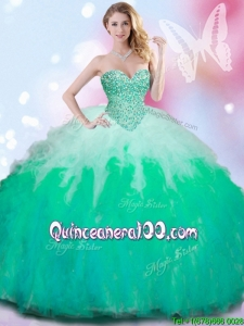 Wonderful Beaded Bodice and Ruffled Quinceanera Dress in Gradient Color