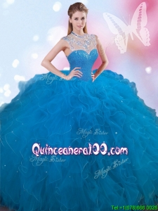 Wonderful Beaded and Ruffled High Neck Quinceanera Dress in Tulle