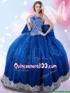 Wonderful Halter Top Beaded and Bowknot Quinceanera Dress in Royal Blue