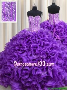 Wonderful Visible Boning Beaded Bodice Rolling Flowers Eggplant Purple Quinceanera Dress