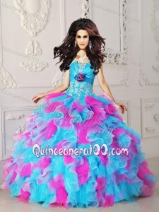 Multi-color Strapless Organza Appliques and Hand Flower Quinceanera Dress