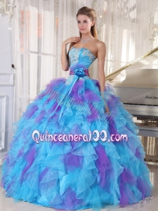 Beautiful Ball Gown Strapless 2014 Quinceanera Dresses with Appliques