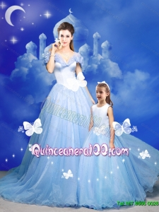 Popular 2015 Summer Cinderella Princesita Dresses with Hand Made Flowers in Blue