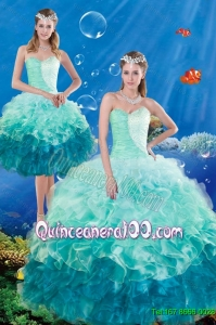 Luxurious Multi Color Ruffles and Beaded Quince Dresses in Multi Color for 2015 Summer