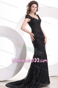 2014 Exquisite V-Neck Brush Train Black Mother of the Dresses