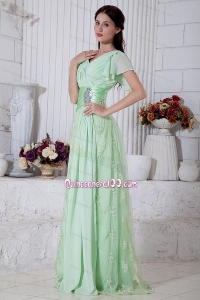 2014 Brand New Beading and Ruch Mother of the Dresses in Apple Green
