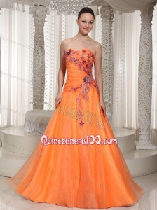 2014 Cheap Hand Made Flowers and Appliques Orange Mother of the Dresses