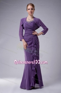 2014 Custom Made Chiffon Beading Mother Of The Dress in Purple