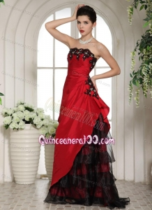 2014 Customize Appliques and Ruching Mother of the Dresses in Wine Red