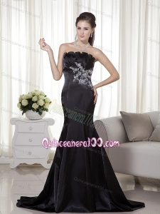 2014 Inexpensive Mermaid Appliques Mother of the Dresses in Black