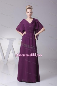 2014 Luxurious Ruching and Beading Mother Of The Dress in Dark Purple