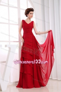 2014 Modest Wine Red Mother of the Dresses with Ruffled Layers
