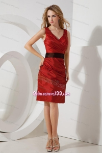 2014 Popular and Cheap Wine Red Mother of the Dresses with Sashes