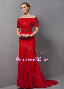 Custom Made Appliques Red Mother Of The Dress For 2014