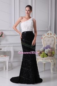 Exclusive One Shoulder Sash Black and White Mother of the Dresses For 2014