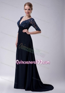The Most Popular Appliques Navy Blue Mother of the Dress For 2014
