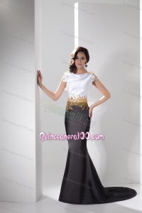 2014 Classical White and Black Mother of the Dresses with Gold Beading
